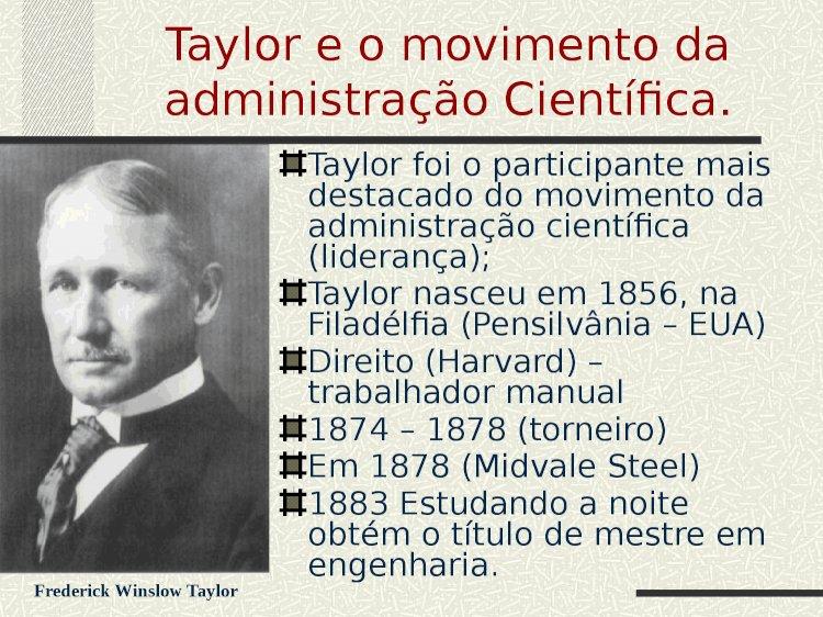 Trabalho Pronto Administração Científica de Taylor - I